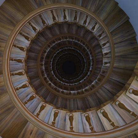 escalera caracol escalera de madera de espiral foto de archivo