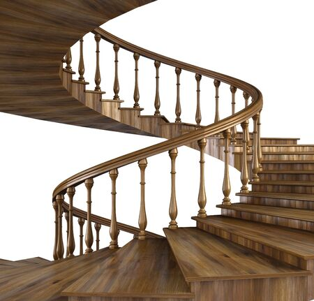 spiral wooden staircase. photo