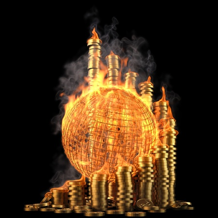 burning money: globe with twisted diagram of golden coins in the fire. isolated on black.