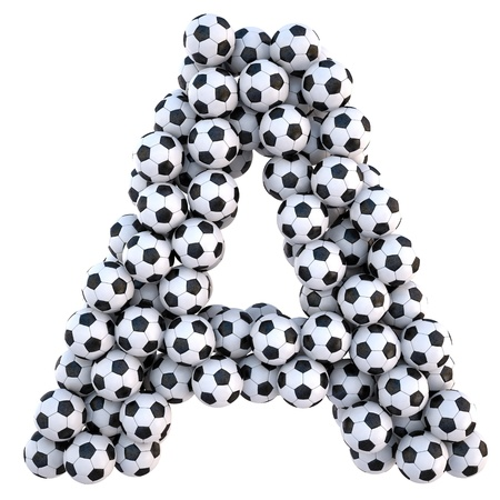 soccer background: soccer balls in the form of letters. isolated on white. Stock Photo