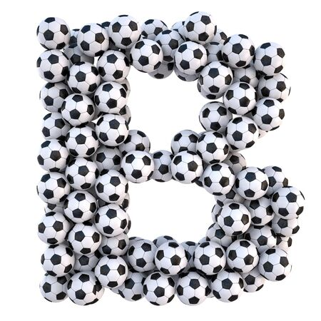 3d text: soccer balls in the form of letters. isolated on white.  Stock Photo