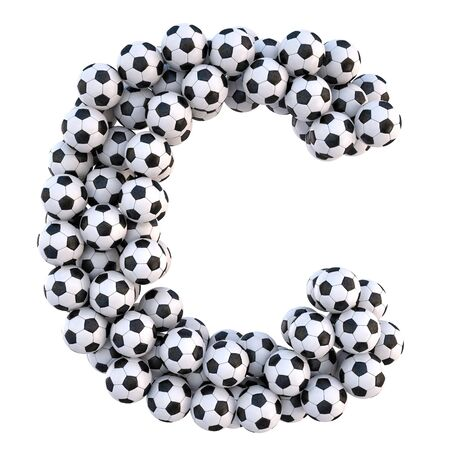soccer balls in the form of letters. isolated on white. Imagens