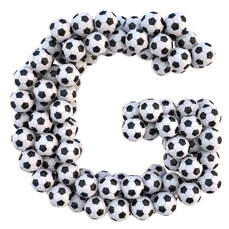 sports form: palloni da calcio in forma di lettere. on white isolato. Archivio Fotografico