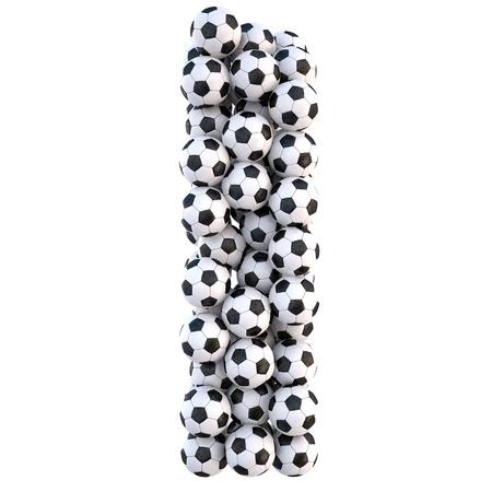 sports form: palloni da calcio in forma di lettere. isolated on white.