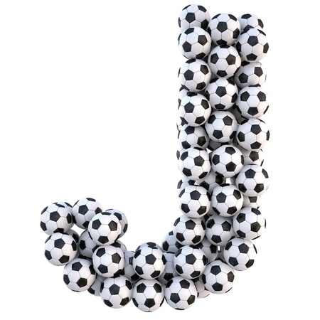 sports form: soccer balls in the form of letters. isolated on white.  Stock Photo