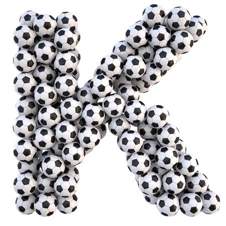 sports form: palloni da calcio in forma di lettere. on white isolato.