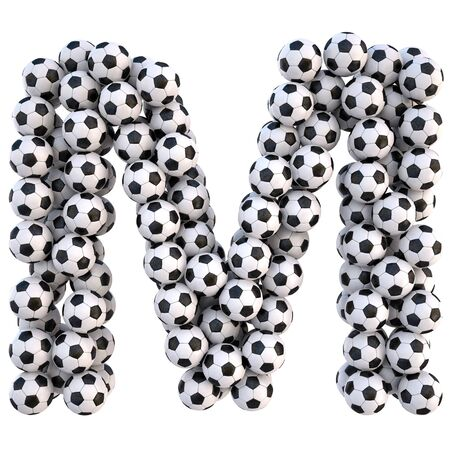 soccer balls in the form of letters. isolated on white.  photo