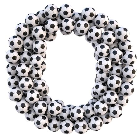soccer balls in the form of letters. isolated on white.  Stock Photo