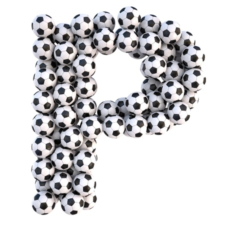 soccer equipment: soccer balls in the form of letters. isolated on white.  Stock Photo