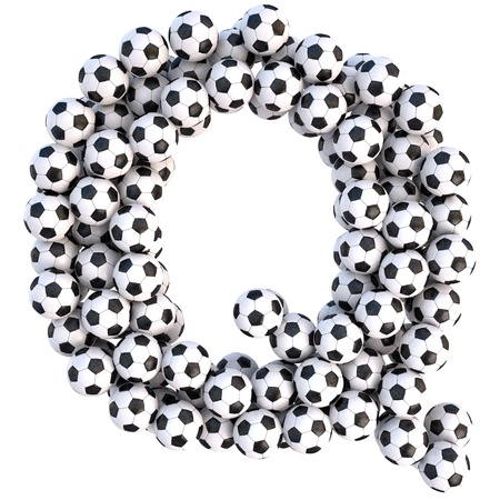 sports form: soccer balls in the form of letters. isolated on white.