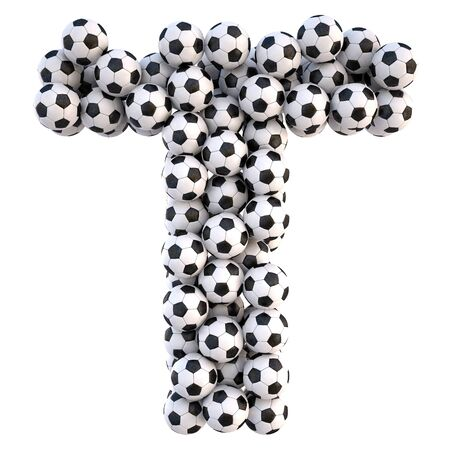 soccer equipment: soccer balls in the form of letters. isolated on white.
