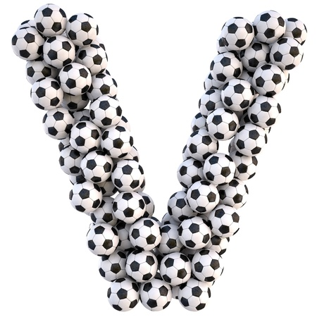 sports form: palloni da calcio in forma di lettere. isolated on white.  Archivio Fotografico