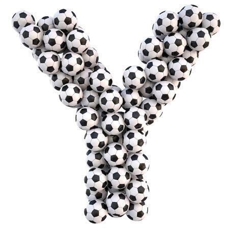 sports form: palloni da calcio in forma di lettere. on white isolato. con un tracciato di ritaglio.