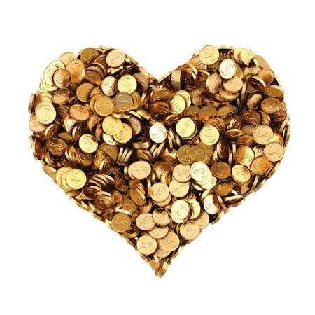 pile of gold coins in the shape of heart. isolated on white.