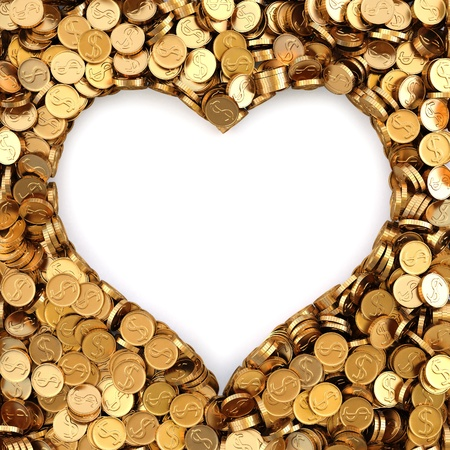 frame made of gold coins in the shape of heart photo