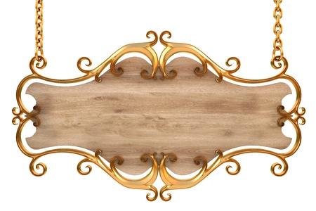 letreros: signo de madera en un marco de oro con cadenas. aislados en blanco. con el trazado de recorte.