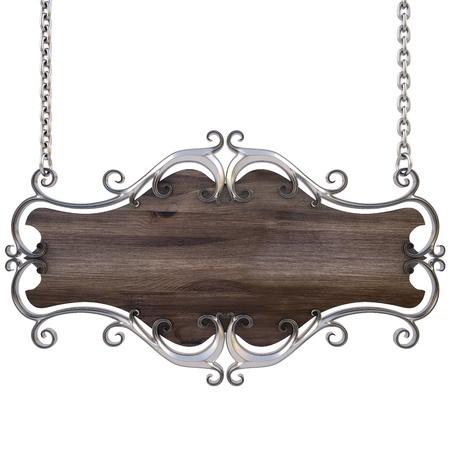 letrero: signo de madera en un marco de oro con cadenas. aislados en blanco. con el trazado de recorte.