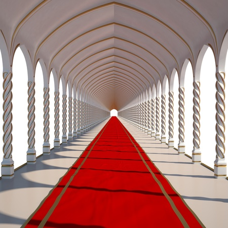 cloth halls: long antique hall with red carpet. isolated on white.