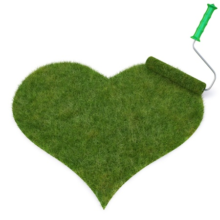 rollerbrush: roller draws the heart from the grass. isolated on white.