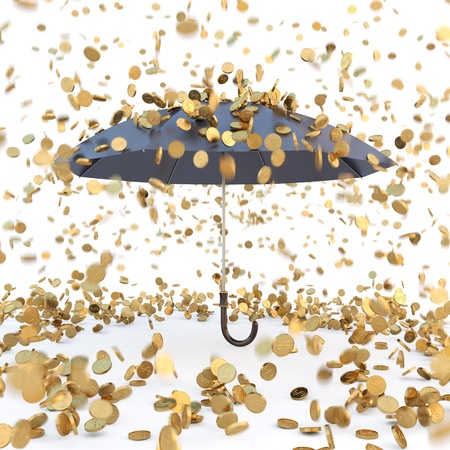 golden coins: rain from golden coins falling on the open umbrella. isolated on white. Stock Photo