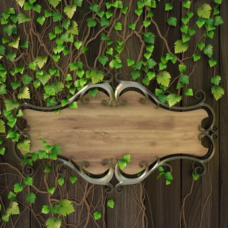 wooden plaque: wooden sign on the wall covered with ivy.