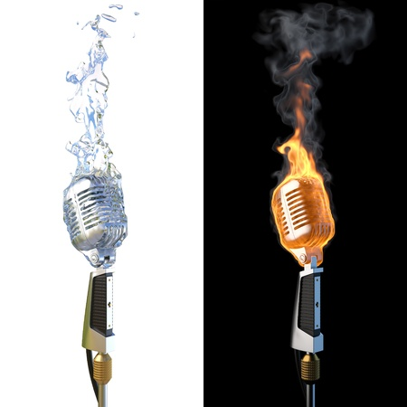 mike: old microphone in flames from fire and from water.