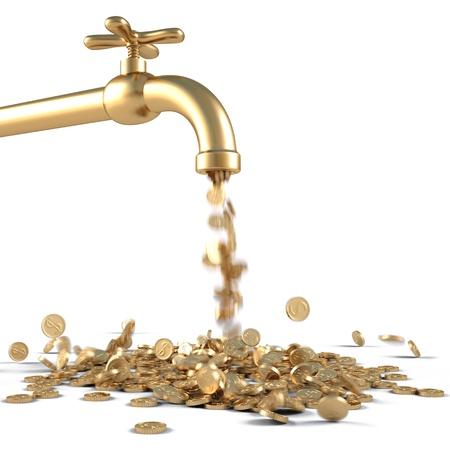 flujo de dinero: monedas de oro caen fuera de la llave de oro. aislado en blanco.