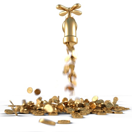 falling money: gold coins fall out of the golden tap. isolated on white. Stock Photo