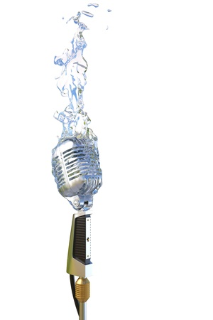 translucent: old microphone in flames from water.