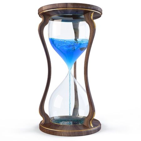 wooden clock: wooden hourglass with a blue liquid flowing down. isolated on white. Stock Photo