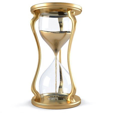 hours: gold hourglass with golden stream flowing down. isolated on white.