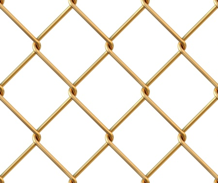 Seamless chainlink fence from gold. isolated on white. photo