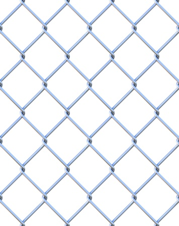 Seamless chainlink fence from steel. isolated on white. photo