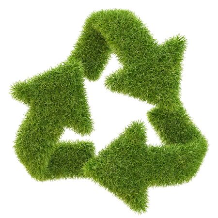 ecological damage: Recycle symbol from grass. isolated on white.