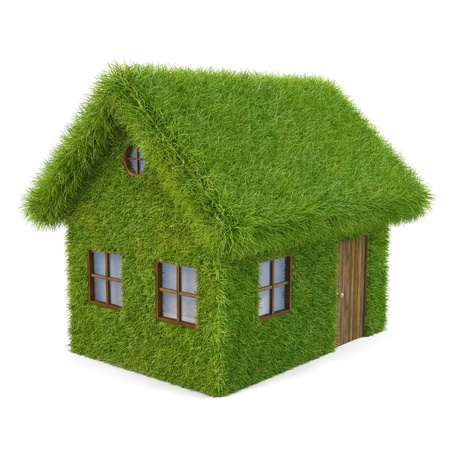 House from the grass. isolated on white.