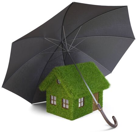 House from the grass under umbrella. isolated on white. photo