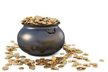 pots pans: Pot of gold coins. isolated on white.