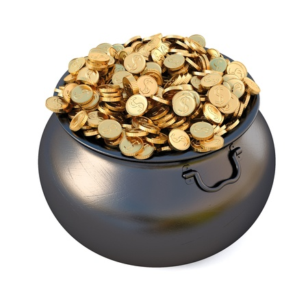 gold money: Pot of gold coins. isolated on white.