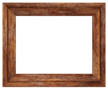 nature picture: wooden picture frame isolated on white.