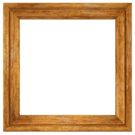 objetos cuadrados: marco para fotos de madera, aislado en blanco. Foto de archivo