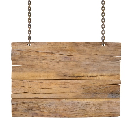 blank wooden sign hanging on a chain. isolated on white photo
