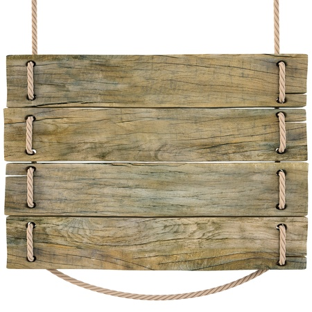 placa bacteriana: signo de madera en blanco colgado de una cuerda. aislado en blanco