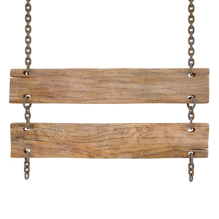 wood sign: blank wooden sign hanging on a chain isolated on white