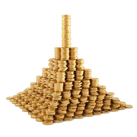 pile of cash: pyramid from the golden coins. isolated on white.