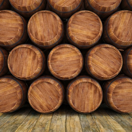 barrels: wall of wooden barrels. Stock Photo