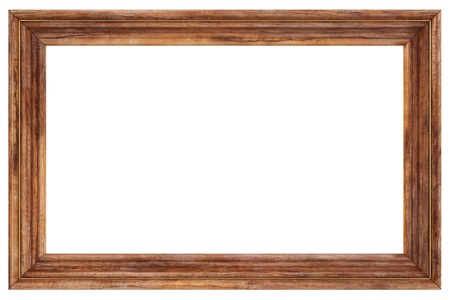 wooden picture frame. isolated on white.