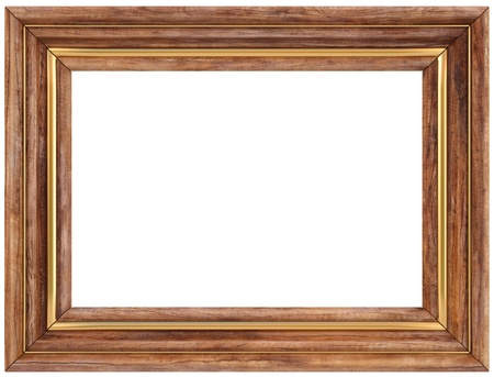 wooden picture frame. isolated on white. photo