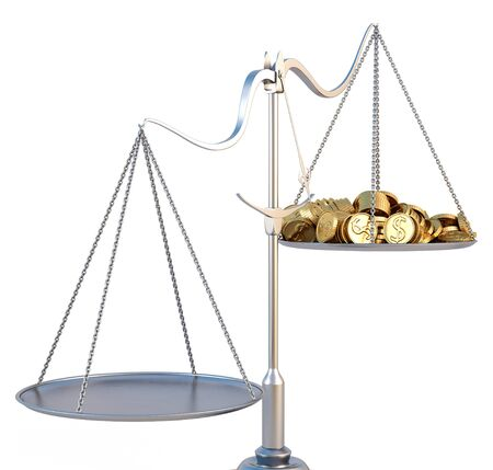 fairness: jewelry scales with a heap gold coins. isolated on white. Stock Photo