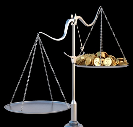 weigher: jewelry scales with a heap gold coins. isolated on black. Stock Photo