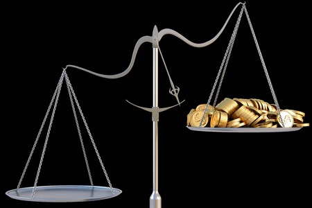 unbalanced: jewelry scales with a heap gold coins. isolated on black. Stock Photo